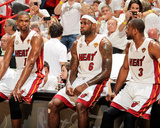Miami  FL - JUNE 9 Chris Bosh  LeBron James and Dwyane Wade