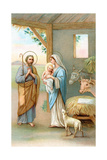 Greeting Cards  Holiday Madonna and Child in stable with Cows and Lamb