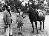 Jackie Kennedy Holding Reins to Sardar  a Present from Pakistani Pres Ayub Khan  1962