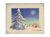 Greeting Card - White Christmas  White Tree with Red Village  National Museum of American History