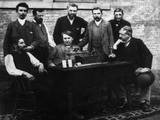 Thomas A Edison and His Inventors  with their Wax Recording Phonograph  1910s