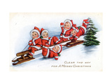 Christmas card with children sledding Clear the Way for A Merry