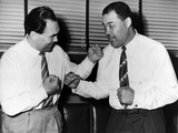 Joe Louis and Max Schmeling Mock Box with Each Other in 1950s