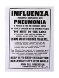 Public Health Poster Relating to the Spanish Flu Epidemic in Chicago During the Fall of 1918