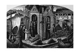 Hotel-Dieu  Paris  with Nuns at the Doors  Receiving a Patient on a Stretcher  1482