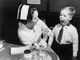 A Nurse Examining the Teeth of a Boy in New York  NY   Ca  1935