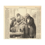 Vaccinating the Baby Against Smallpox in New York Ca 1870  from Harper's Weekly