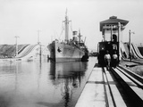 Ship Moves Through the Miraflores Lock of Panama Canal  Ca  1915