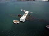 USS Arizona Memorial Rests on the Actual Battleship Sunk in Pearl Harbor  1991