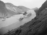Boats Move Through Panama Canal at the Culebra Cut  Ca 1915