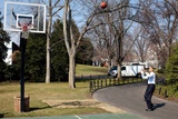 President Obama Shoots Hoops on the White House South Lawn Basketball Court  March 6  2009