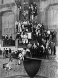 Workmen on the Giant Turbine in the Powerhouse of the Bonneville Dam  Ca 1937