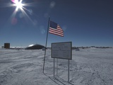 American Flag at the Antarctic Research Station at the Geographic South Pole  2009