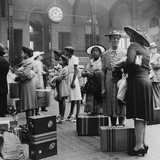 Stylishly Dressed African American Women at New York City's Pennsylvania Station August 1942