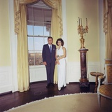 President and Jacqueline Kennedy in the White House Oval Room