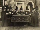 Eight Women in High Hats Having Tea in Norfolk  England  Ca 1920