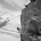 Two Mountain Climbers on the Side of a Mountain in Zermatt  Switzerland  1954