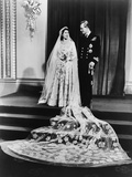 Princess Elizabeth and Prince Philip in a Full-Length Wedding Portrait  1947