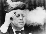 President John Kennedy, Smoking a Cigar at a Democratic Fundraiser, Oct. 19, 1963 Reproduction photo