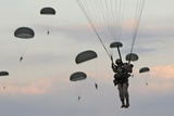 82nd Airborne Descend from a Parachute Drop Fort Bragg  Sept 13  2010