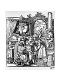 Woman in a Birthing Chair Assisted by Midwives While Two Men Watch the Stars  1580