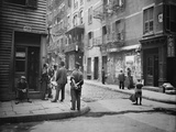 Chinese Men in Traditional Dress  on Pell Street in NYC's Chinatown  Ca1900