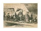 The Modern Ark  a Political Cartoon Satirizing Unrestricted Immigration  1871