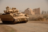 US Bradley Fighting Vehicle Passes by the Palace of Historic Ctesiphon  Feb 16  2008