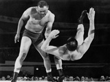 Joe Louis Throws Jim Bernard to the Mat During a 1956 Wrestling Match in Detroit