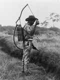 Worker Spraying Oil on Breeding Places of Mosquitoes in Panama  Ca 1905