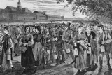 Bell-Time ' Workers Leaving the Lawrence  Massachusetts  1869