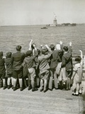 Jewish Refugee Children Waving at the Statue of Liberty from Ocean Liner  1939