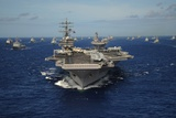 Aircraft Carrier USS Ronald Reagan Leads Allied Ships on Pacific Ocean  July 2010