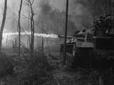 US Marine Flame Tanks Burn 'No-Name Village'  Quang Ngai Province  Vietnam  1969