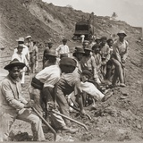 Panamanian Laborers at Work with Shovels During Panama Canal Construction  1909