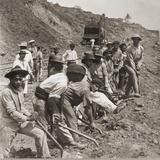 Panamanian Laborers at Work with Shovels During Panama Canal Construction  1909