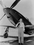 Jacqueline Cochran 1906-1980 American Aviator with F-51 Mustang Airplane  1948