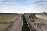 Long Coal Train Crossing the South Dakota Prairie Reaches to the Horizon  2009