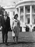 President and Mrs John F Kennedy Walking on the South Lawn of the White House on April 16  1962