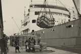 Japanese Longshoremen Loading Bundles of Raw Silk Onto a Freighter  Ca 1938