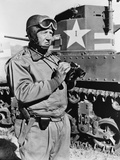 General George S Patton  Commanding Officer of First Armored Corps Observing M3 Tanks  May 1942