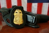 Contemporary FBI Badge and Gun with American Flag