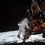 Astronaut Edwin Aldrin  Steps Off the Lunar Module to Moon's Surface  July 20  1969