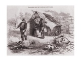 Gold Diggers Hut of Canvas and Bark in the Australian Gold Fields in the 1850s