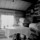 Interior of an Idaho Farmer's Two-Room Log Home  1939 by Dorothea Lange