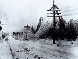 Power and Telephone Lines Sagging after Heavy Ice Storm  Ca 1920-1950