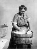 Woman Doing Laundry in Wooden Tub and Metal Washboard  Ca  1905