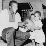Jim Brown  Football Champion with His Twins  Kevin and Kim Sept 27  1961