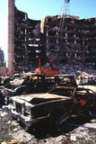 Destroyed Automobiles Near the Bombed Alfred Murrah Federal Building  1995