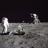 Apollo 11 Astronaut Edwin Aldrin Looks Back at Tranquility Base  July 20  1969